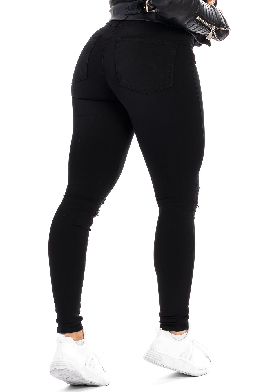 Womens Ripped 360 Fitjeans - Black