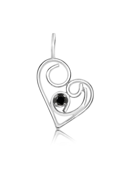 Limited Edition Petite Swirly Black Diamond Heart