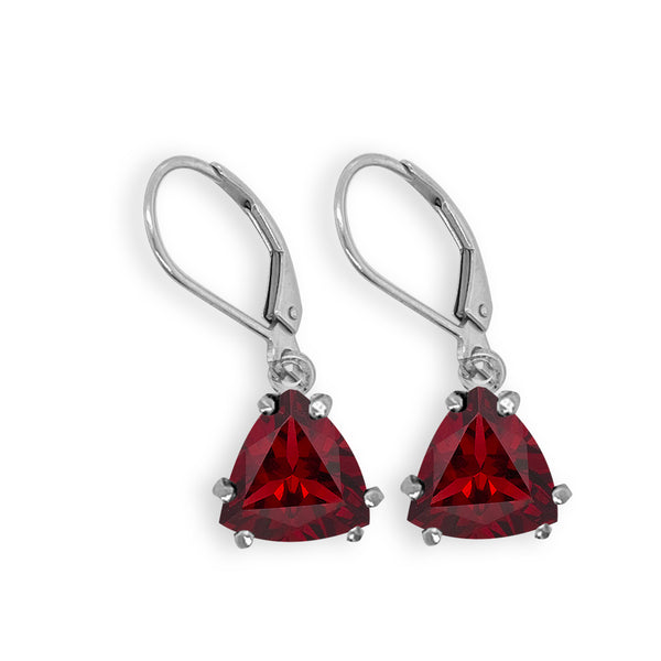 Garnet Trillion Dangle Earrings