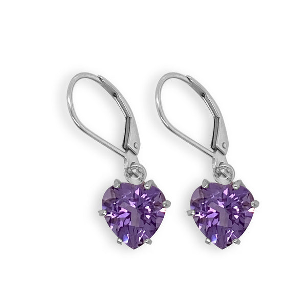 Amethyst Heart Dangle Earrings