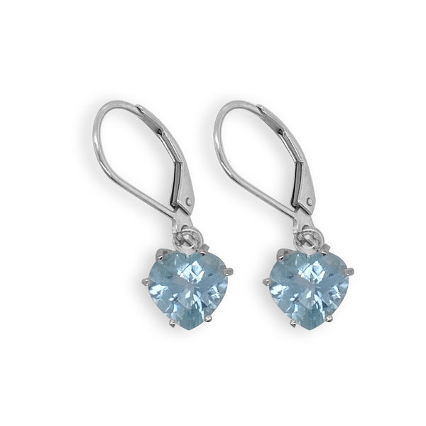Aquamarine Heart Dangle Earrings