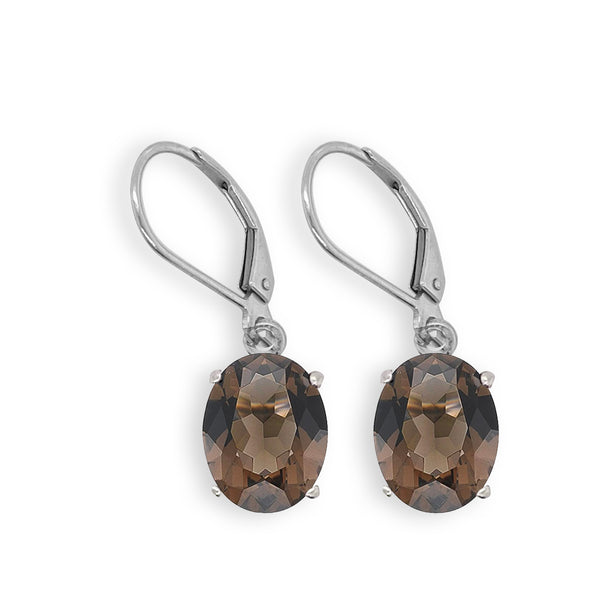 Smoky Quartz Oval Dangle Earrings