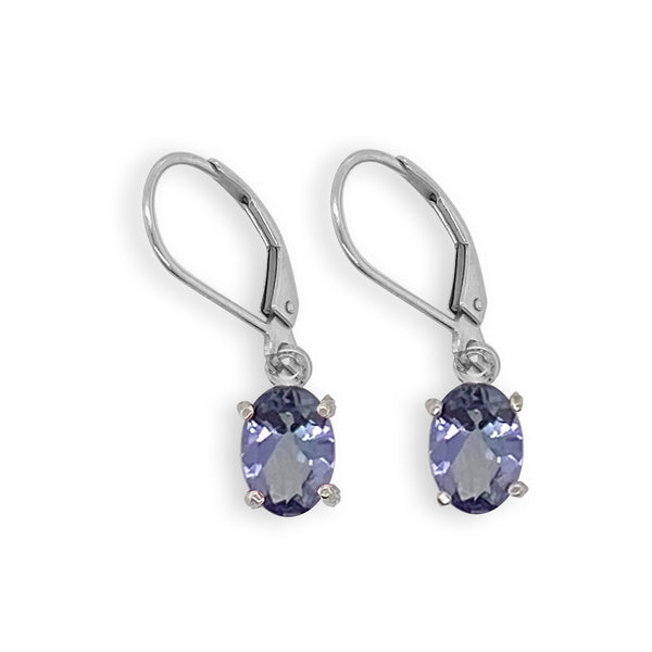 Tanzanite Oval Dangle Earrings
