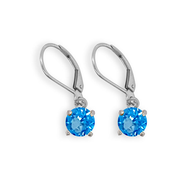 Blue Topaz Round Dangle Earrings