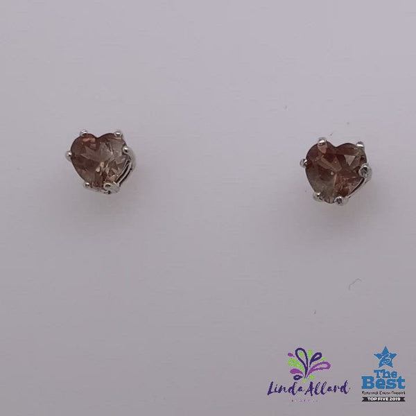 Heart Shaped Sunstone Earrings