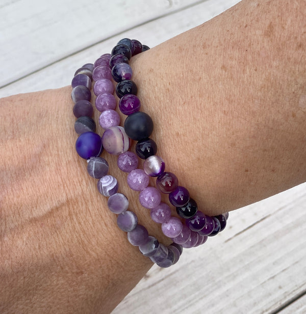 Purple Jade Gemstone Bracelet