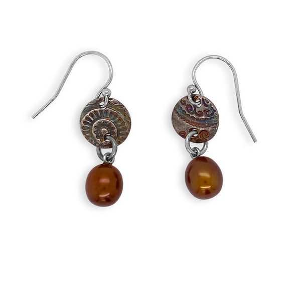 Chocolate Pearl And Fine Silver Drop Earrings