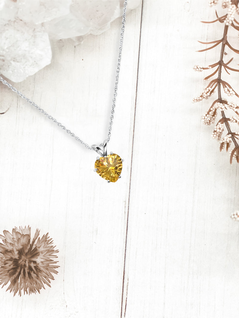 Heart Shaped Citrine Pendant