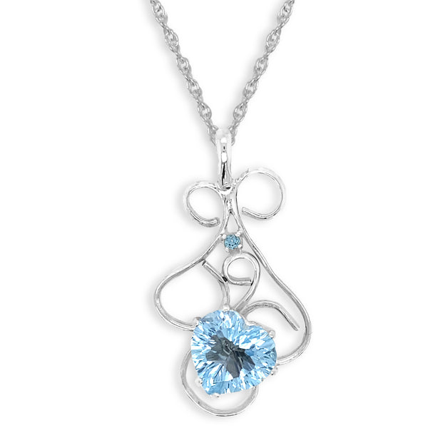 Heart Shaped Blue Topaz Pendant