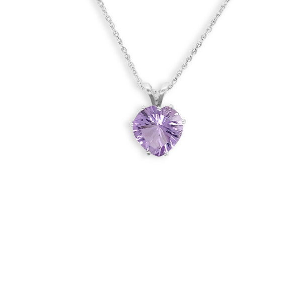 Heart Shaped Lavender Amethyst Pendant