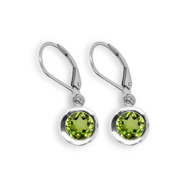Peridot Round Filigree Dangle Earrings