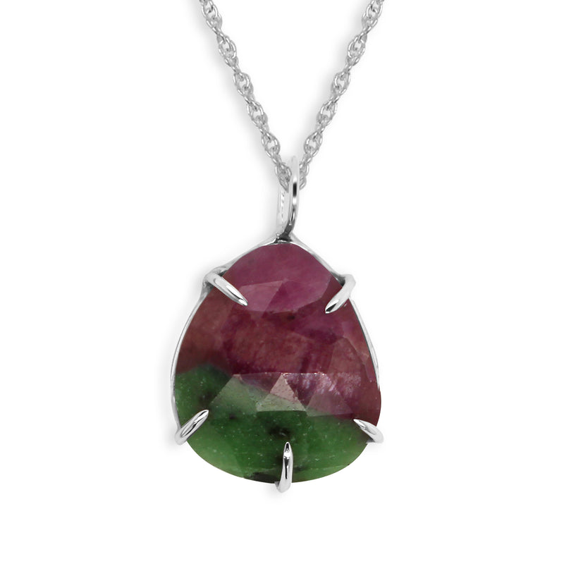 Rose Cut Ruby Zoisite Pendant