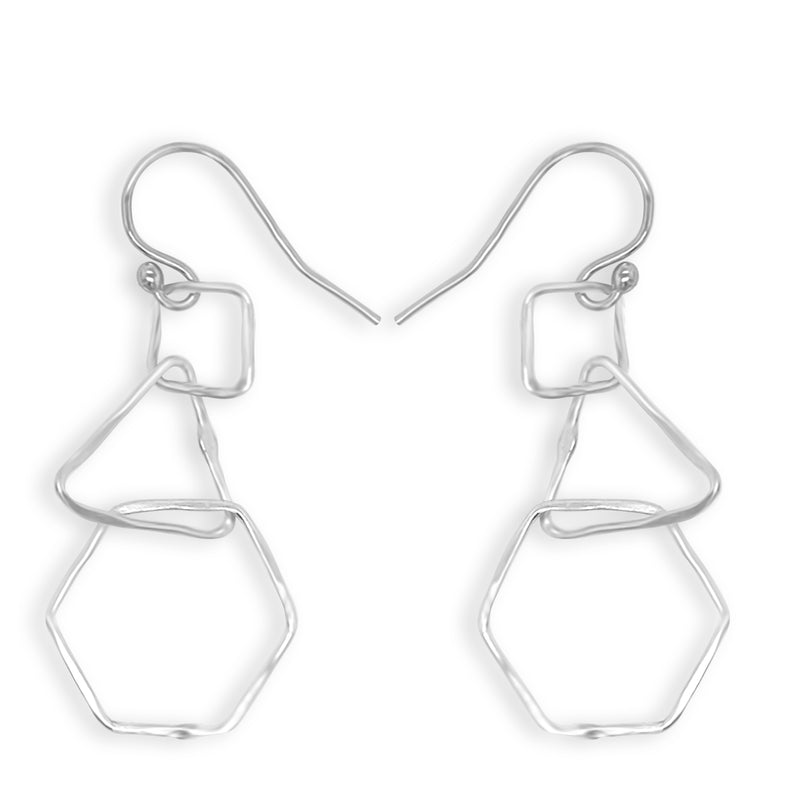 Simply Silver Three Shape Drop Earrings
