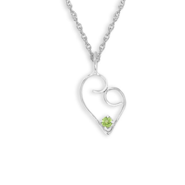 Swirly Peridot Heart