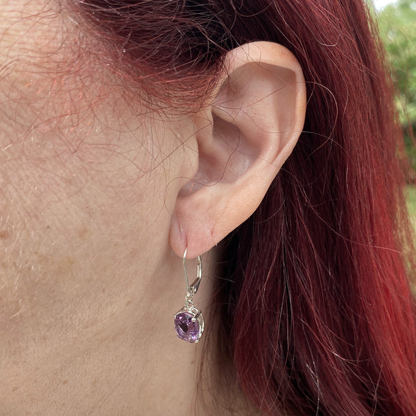 Amethyst Oval Dangle Earrings