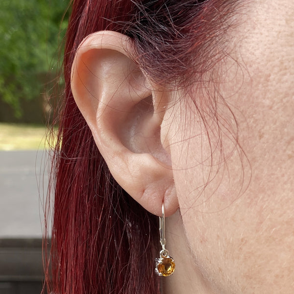 Citrine Round Dangle Earrings