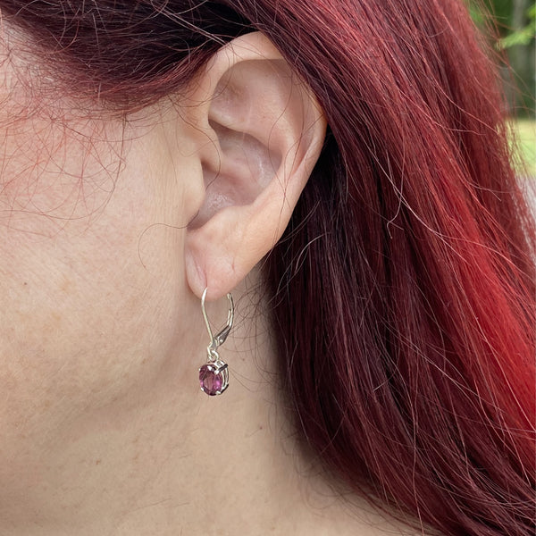 Garnet Oval Dangle Earrings