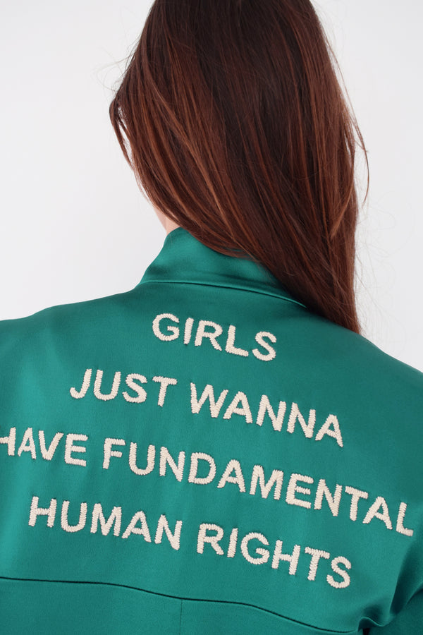 Veste Théo - Satin vert (girls just wanna have) - Côme Éditions