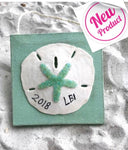 Sand Dollar Ornament Customized State on Green Canvas