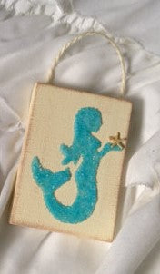 Mermaid ornament Made of Aqua Crushed Glass