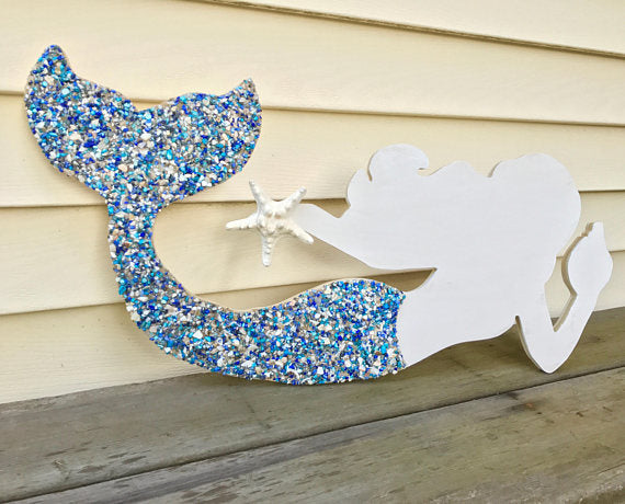 Mermaid Made of Wood With Blue Tail- Large