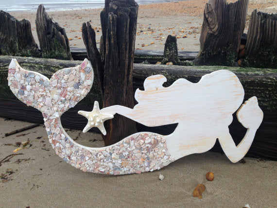 Mermaid Made of Wood With Crushed Shell Tail- Large