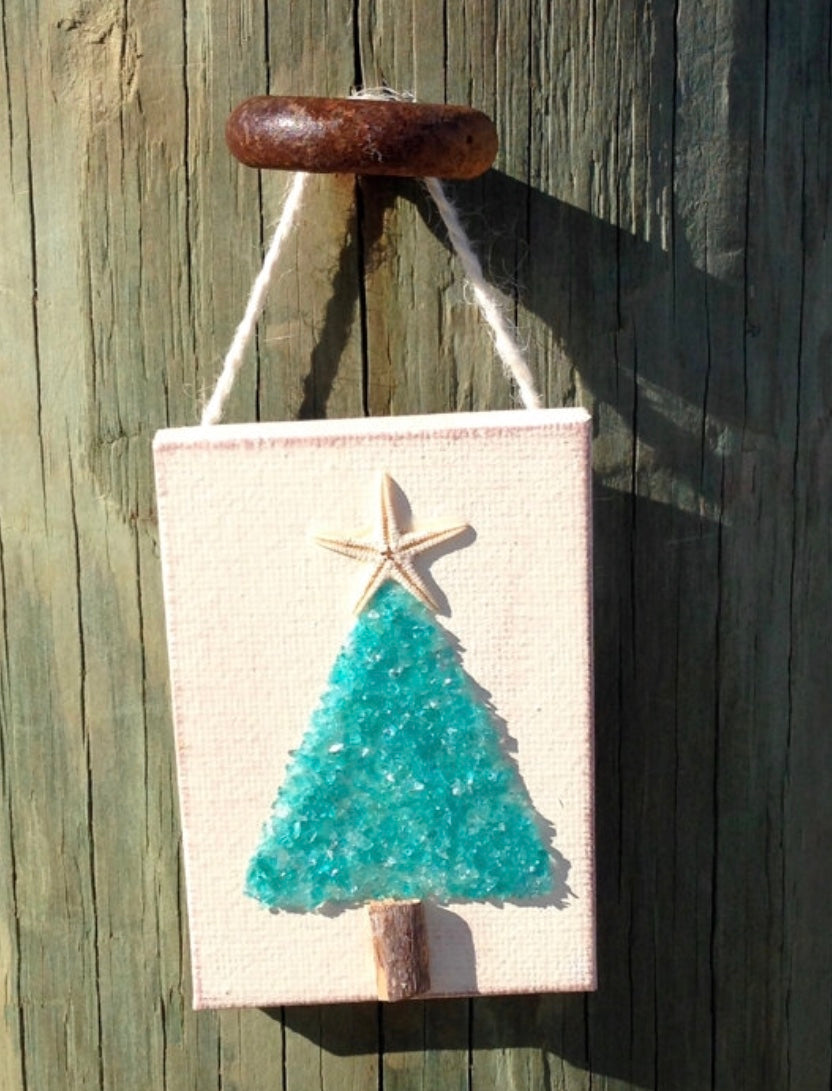 Christmas tree ornament aqua crushed glass