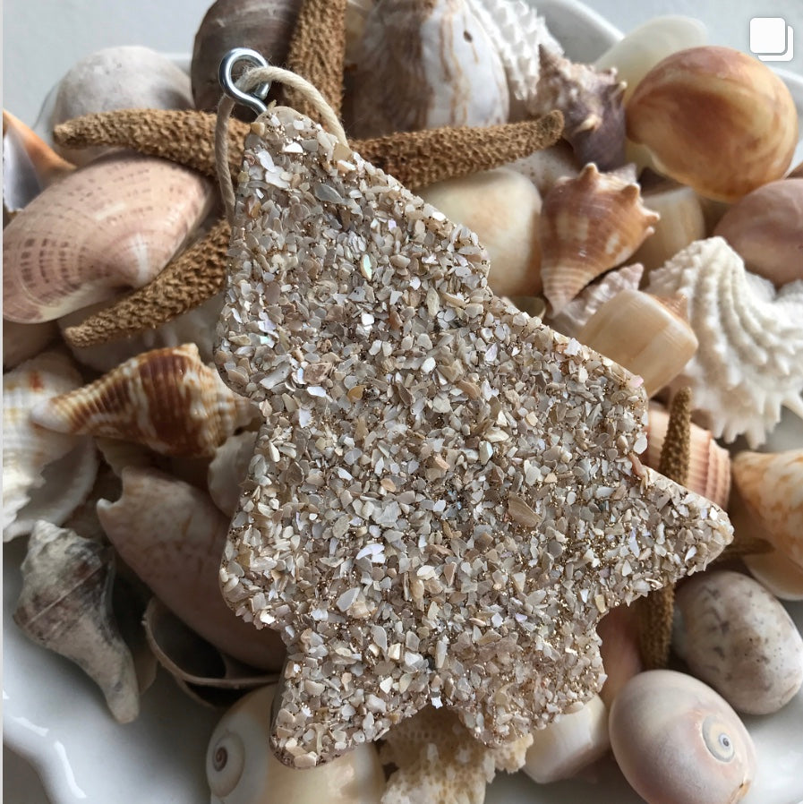 Christmas tree cutout ornament in crushed shell