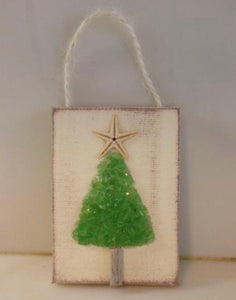 Christmas tree ornament green crushed glass
