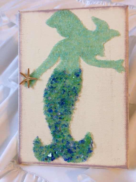 Mermaid on Canvas Made of Green Crushed Glass