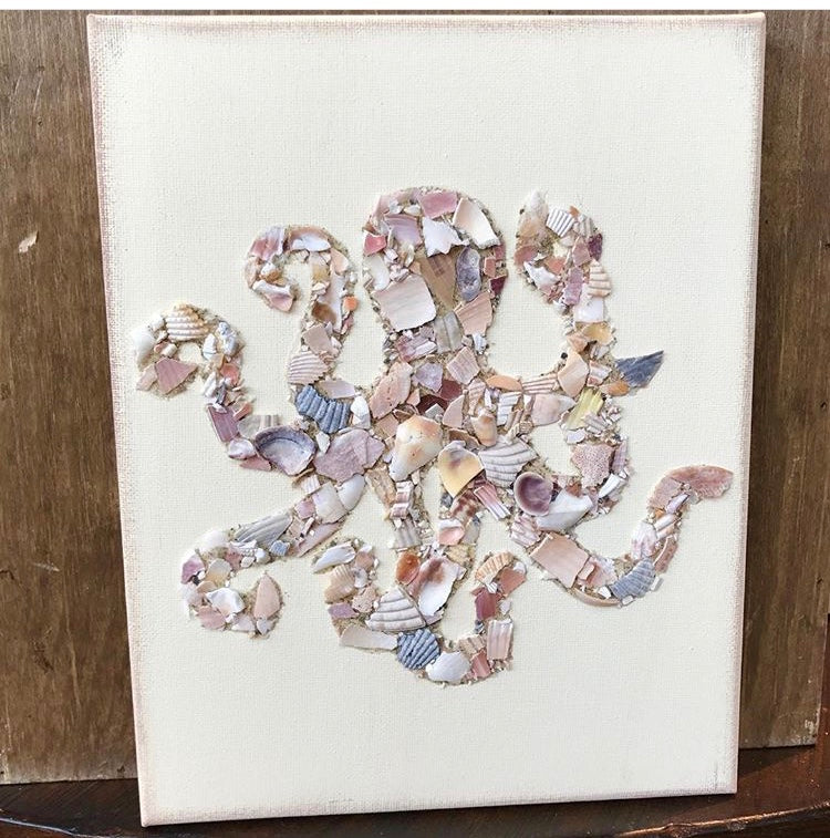 Octopus Made of Shells on Canvas