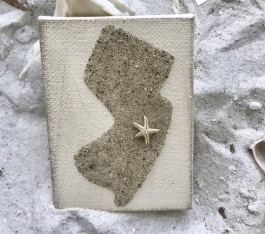 Jersey State Shape Ornament Made With Sand
