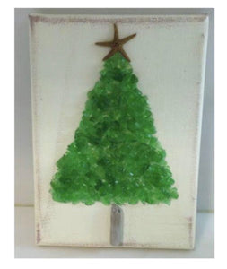 TC1015--5x7 Christmas Tree on canvas green crushed glass