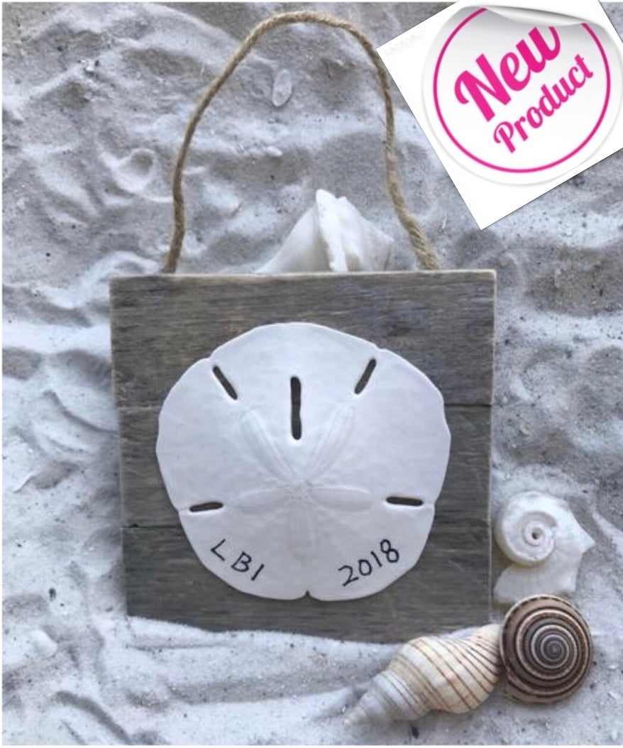 Sand dollar Ornament Customized State or Town on Dune Fence