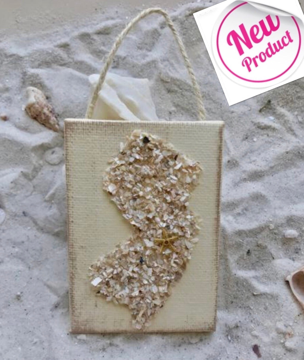 Jersey State Shape Ornament Made With Crushed Shells