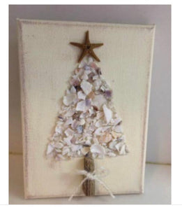 Christmas Tree on canvas crushed shell