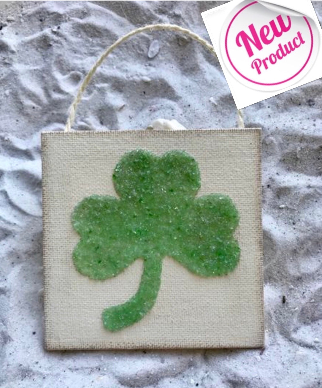 Shamrock Ornament Green Crushed Glass