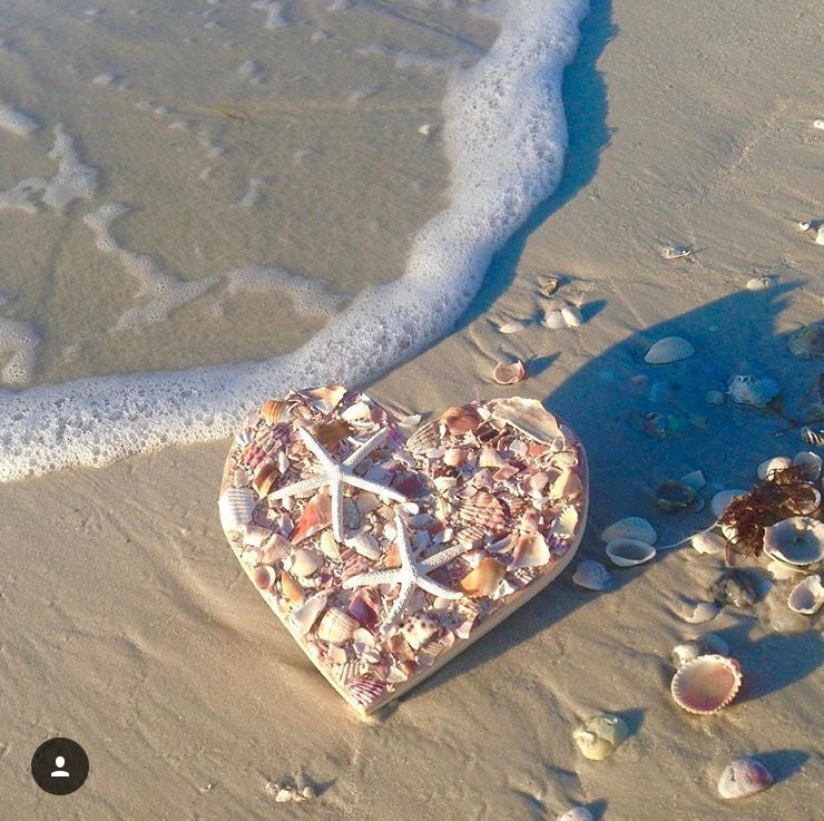Heart with Crushed Shells &  Starfish