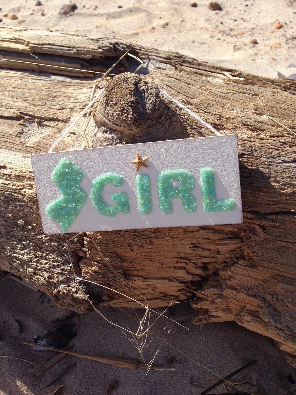 Jersey Girl Wood Sign Made of Green Crushed Glass