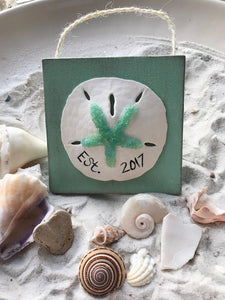 Sand Dollar on Green Canvas Customized For You Ornament