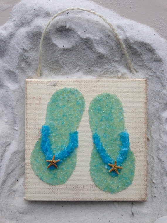 Flip Flop Pair Ornament made with Crushed Glass