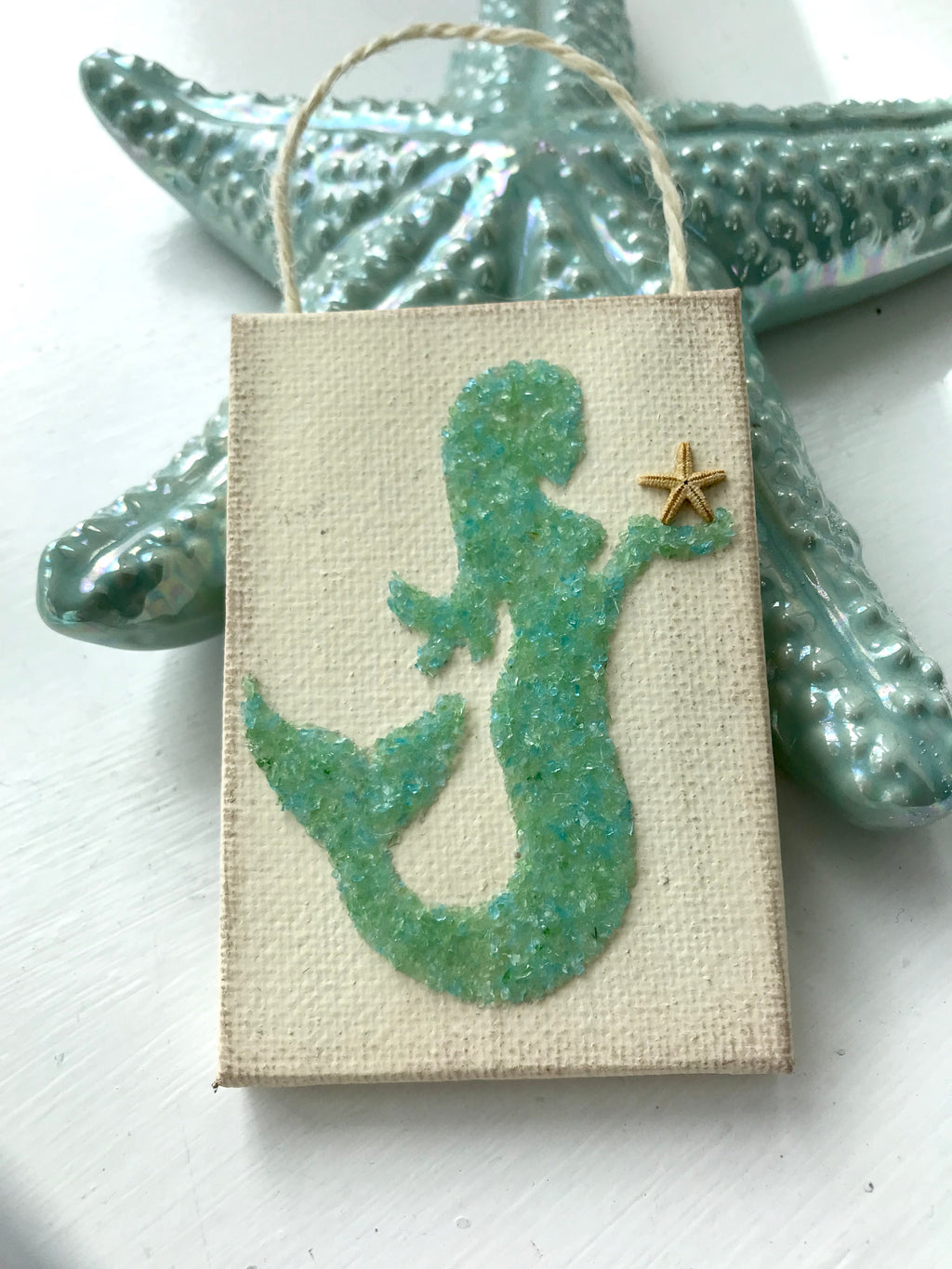 Mermaid ornament Made of Green Crushed Glass