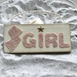Jersey Girl Sign Made of Pink Crushed Glass