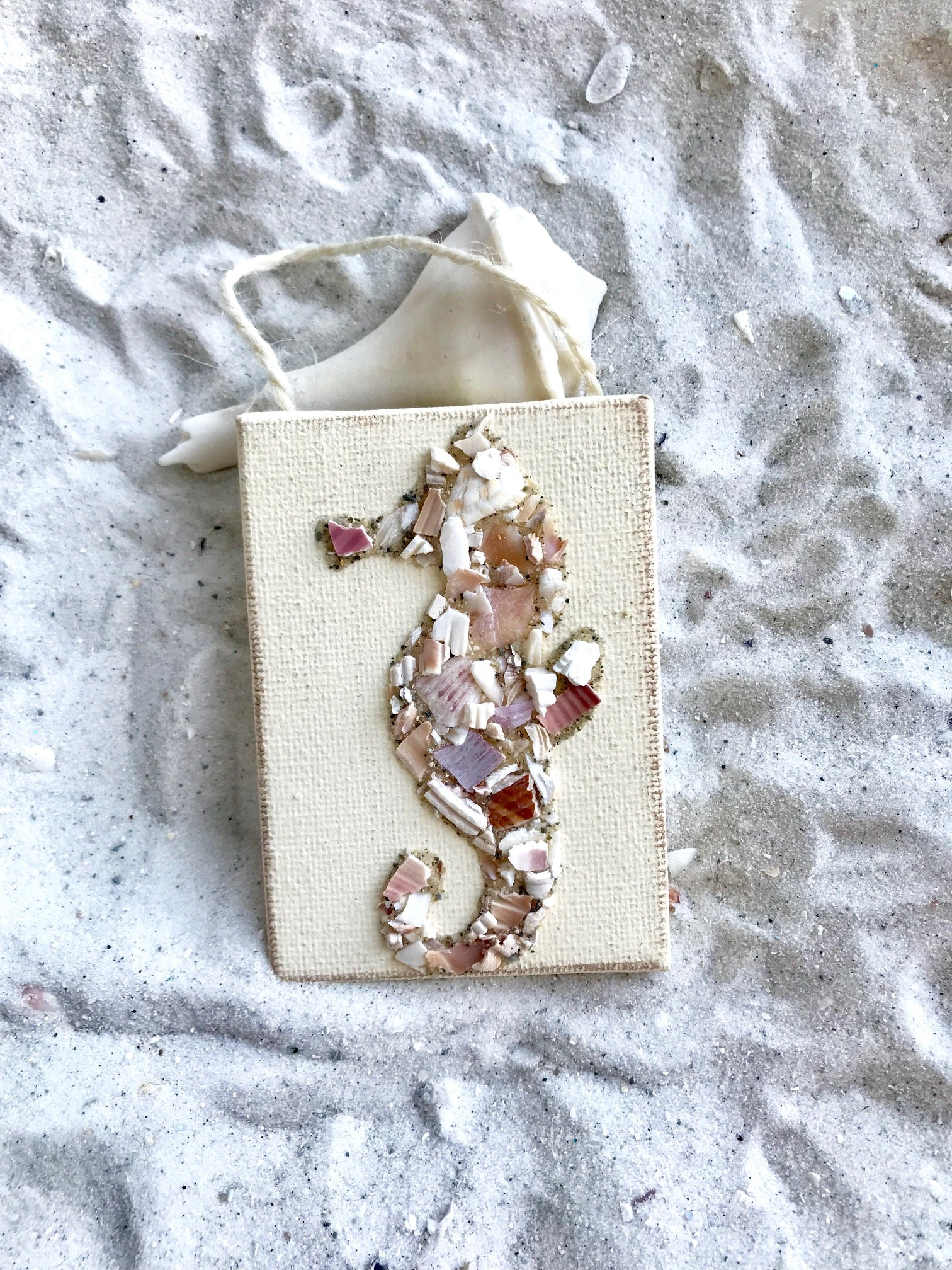 Seahorse Ornament Made of Crushed Shells