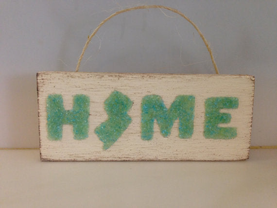 Jersey Home Hanging sign Made of Green Crushed Glass