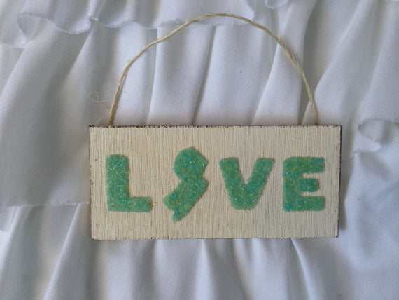 Jersey Love Hanging Sign made of Green Crushed Glass