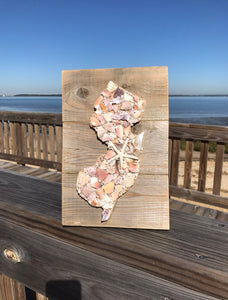 T1294 Jersey State on Reclaimed Wood Made of Shells