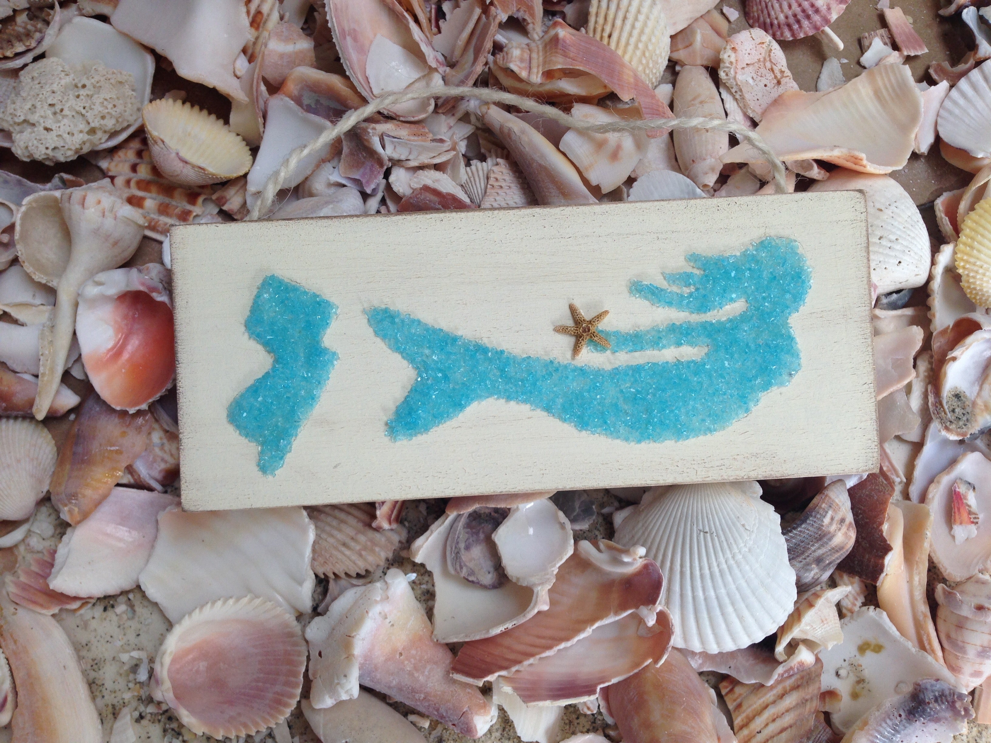 Mermaid with Jersey State on wood made with Aqua Crushed Glass