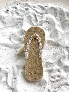 Flip flop Made of Wood with Sand Ornament