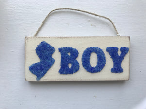 Jersey boy hanging wood sign Blue Crushed Glass